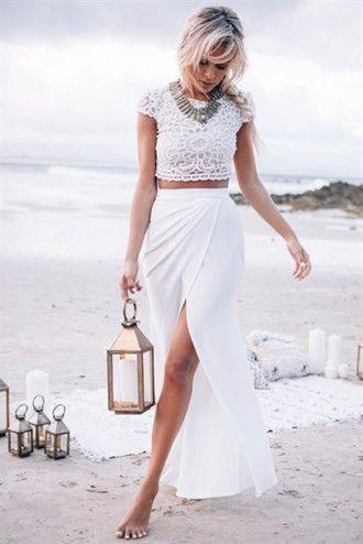 8b545f363e0 dress two-piece maxi skirt slit slit skirt white skirt white top lace all  white no socks prom prom dress white white white whte crop crop tops  cropped white ...