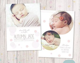 Baby Announcement Card Thank You Template For An013 Instant