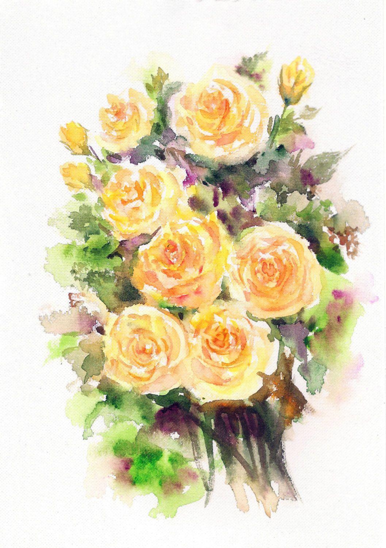 Original Painting, Yellow Roses, Rose Painting, Beautiful Roses ...