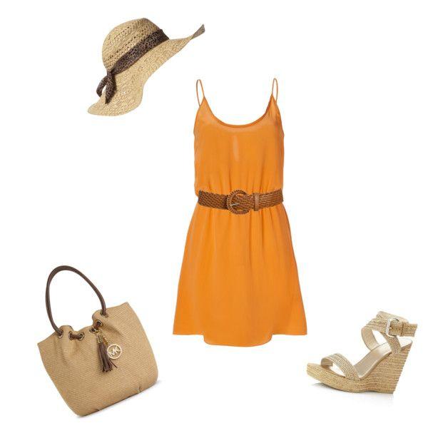 orange silk dress...