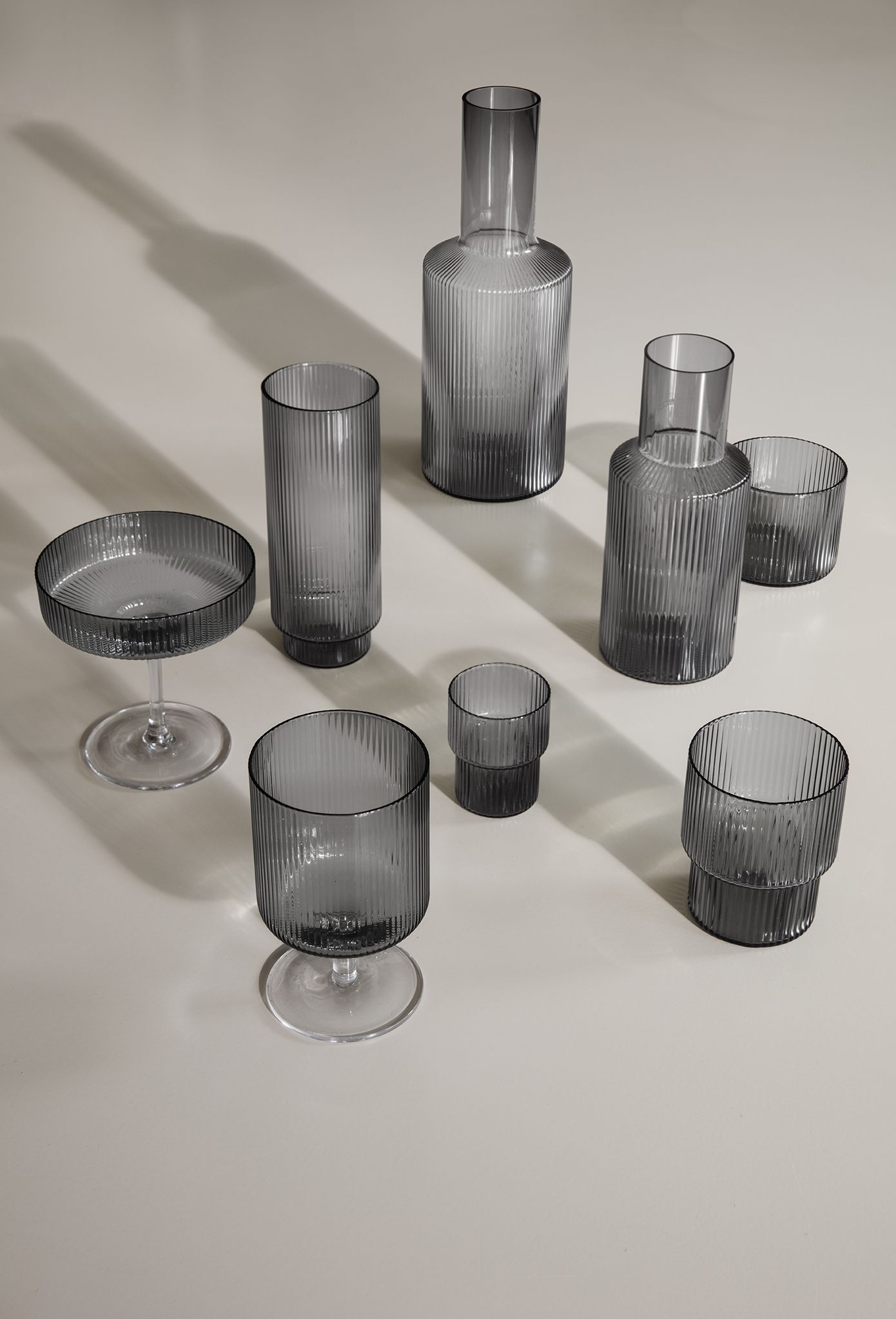 Ferm Living Ripple In Smoked Grey In 2020 Blown Glasses Glasses Drinking Small Glasses