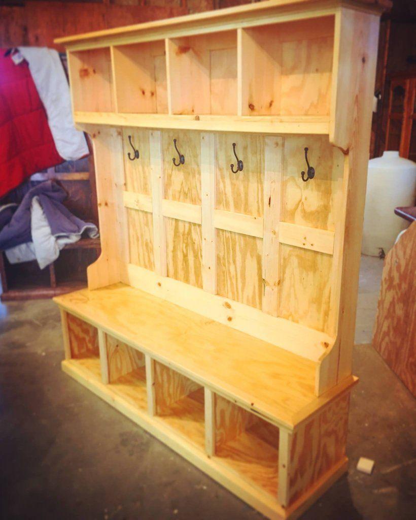 Custom hall tree repurposed furniture woodworking bench