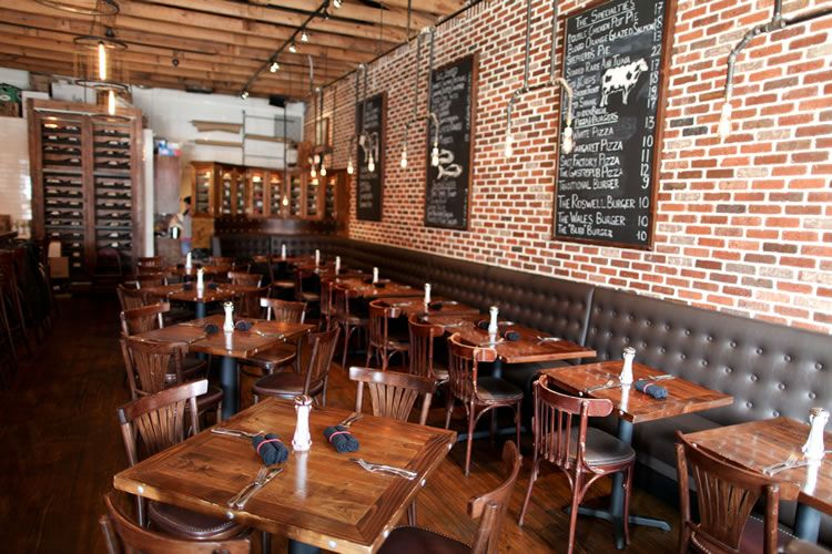 industrial restaurant furniture. I Like The Industrial Light Fixtures, Brick Wall, And Chalkboards. A Relatively Neutral Color Palette Leaves Options For Artwork Unexpected Pops Of Restaurant Furniture
