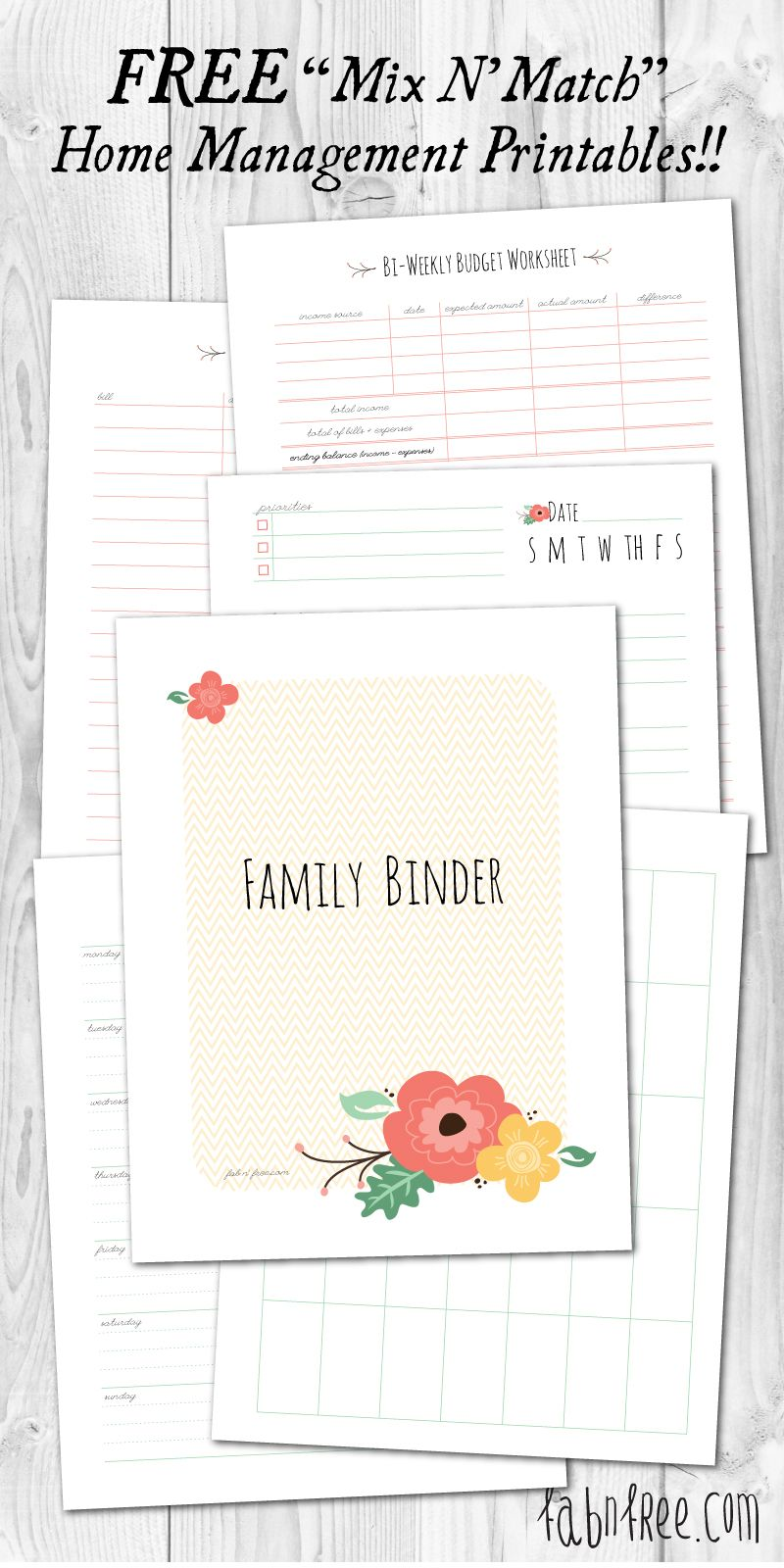 Free Printable Mix Match Home Management Binder Free