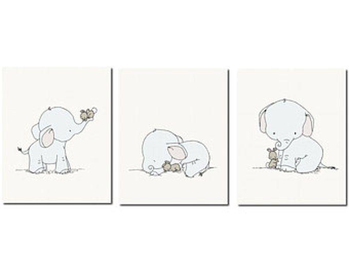 elefant kinderzimmer kunst elefanten und hasen set von 3 drucke elefant und hase. Black Bedroom Furniture Sets. Home Design Ideas