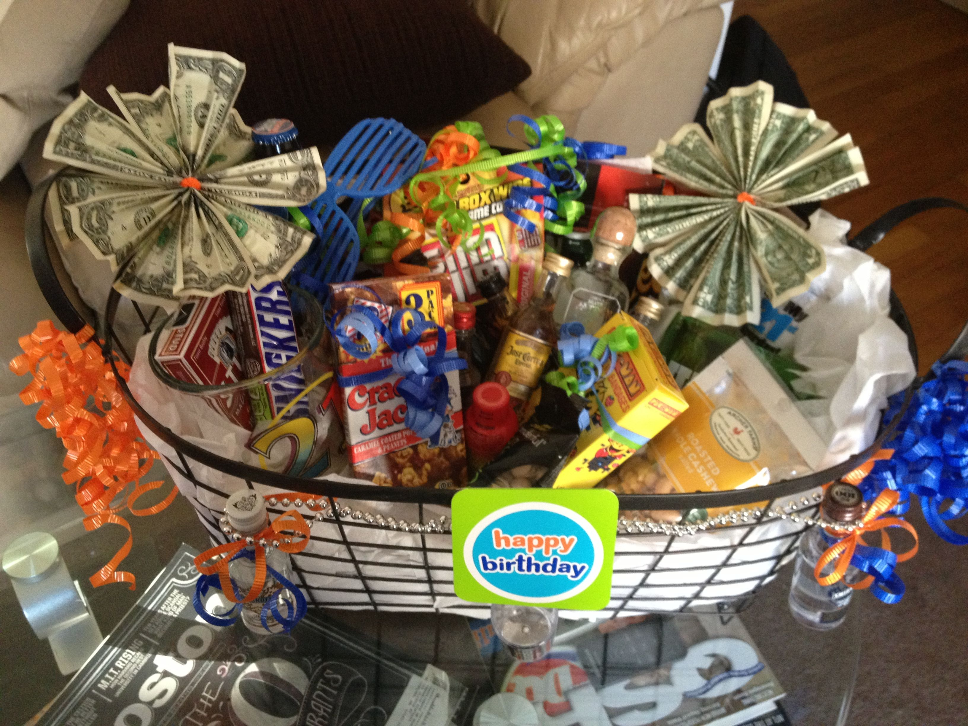 21st birthday basket for my brother huge success
