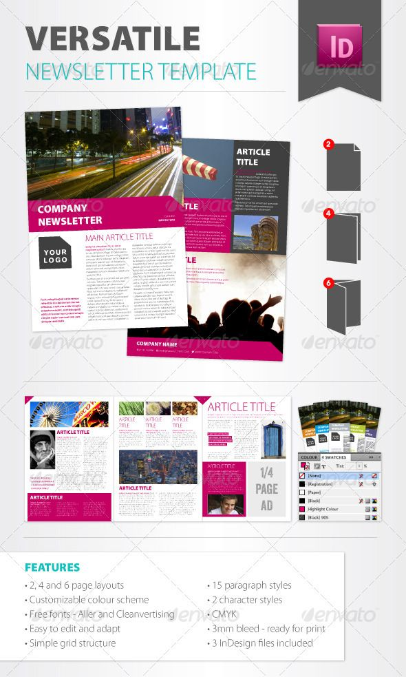 Versatile Newsletter Template | Newsletter templates, Print ...