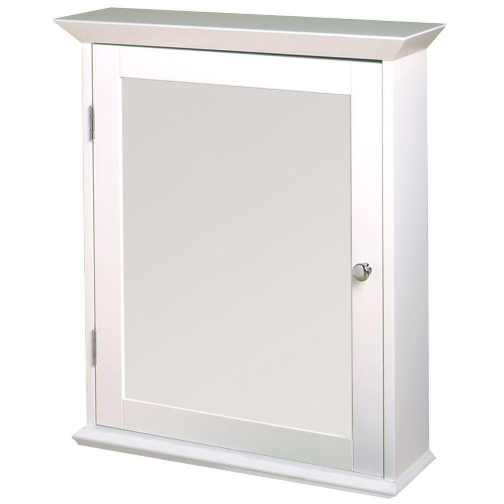 Zenith 22 In W Framed Surface Mount Bathroom Medicine Cabinet With Swing Door In White Ww2026 The Home Depot Surface Mount Medicine Cabinet Wood Swing White