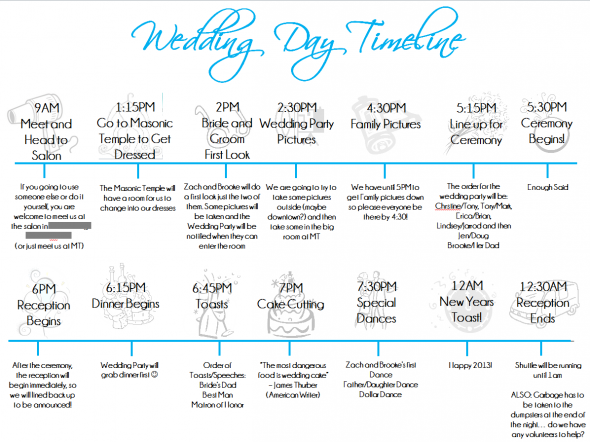 Wedding Day Timeline Template Black Blue Bridesmaids Diy