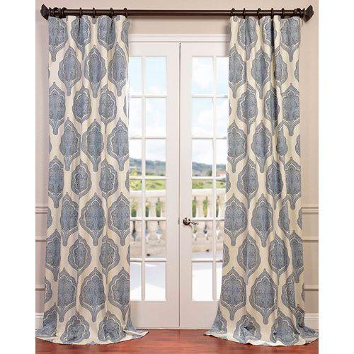 Arabesque Blue 96 X 50 Inch Curtain Single Panel Panels Sets Window Treatments Ho