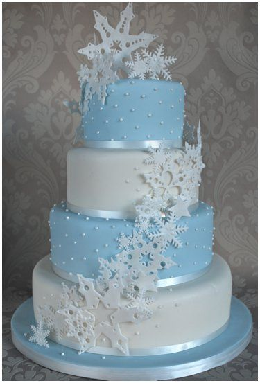 Blue And White Snowflake Birthday Cake L Mybirthday