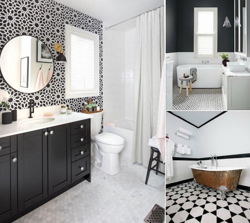 Modèle carrelage salle de bain noir et blanc- 25 décors où ...