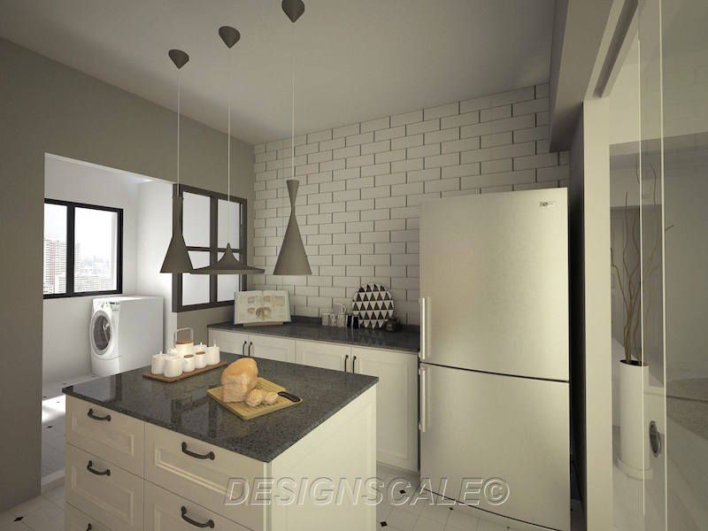 designscale HDB 4-Room Resale Woodlands Drive 3 Kitchen - k chenzeile l form