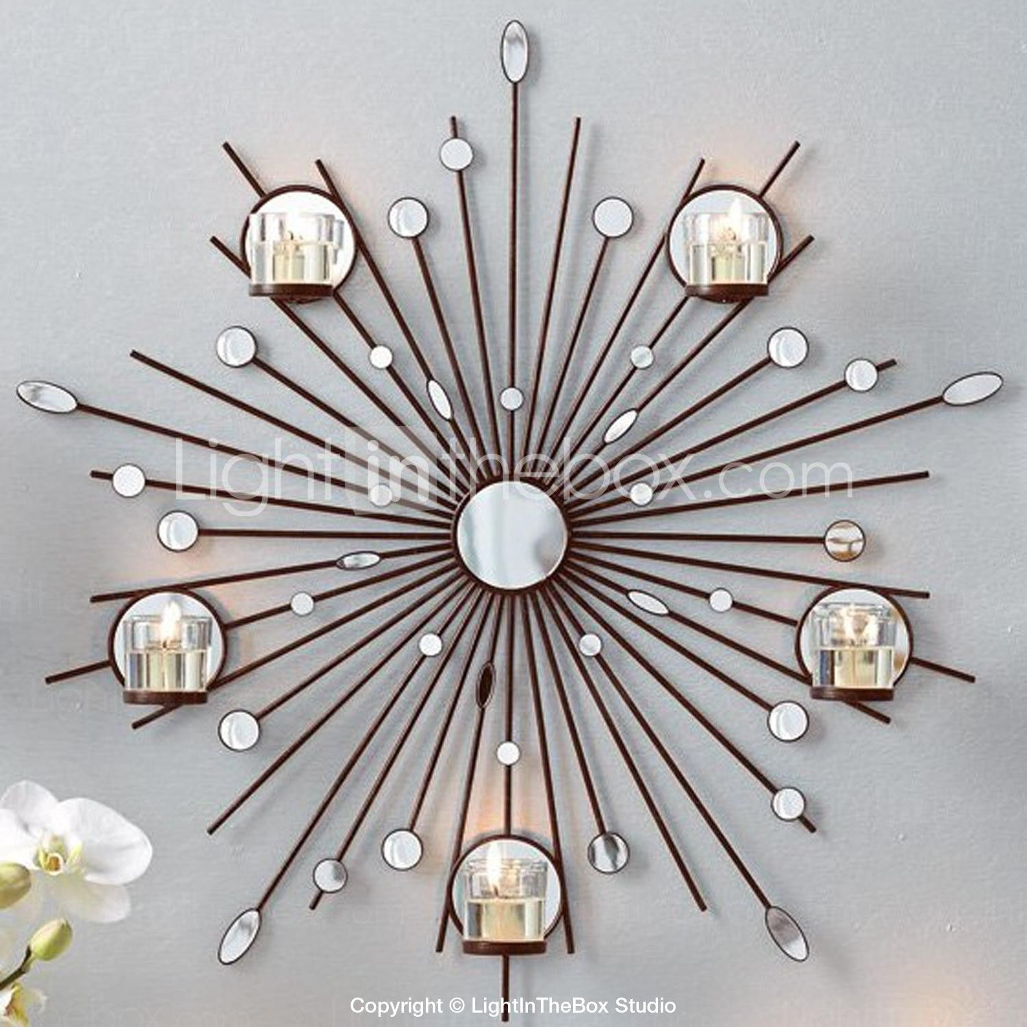 Metal Wall Accent Pieces Metal Wall Art Wall Decorthe Sun Mirror Candlestick Wall Decor