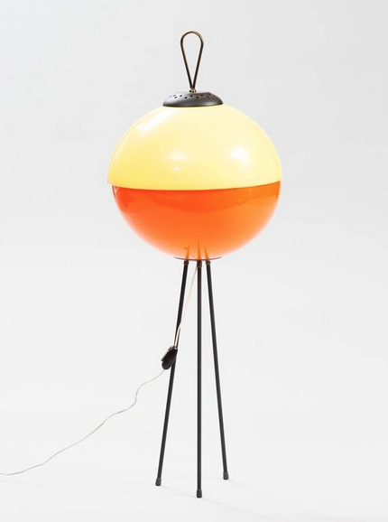 Anonymous; Enameled Metal and Acrylic Floor Lamp, 1950s.
