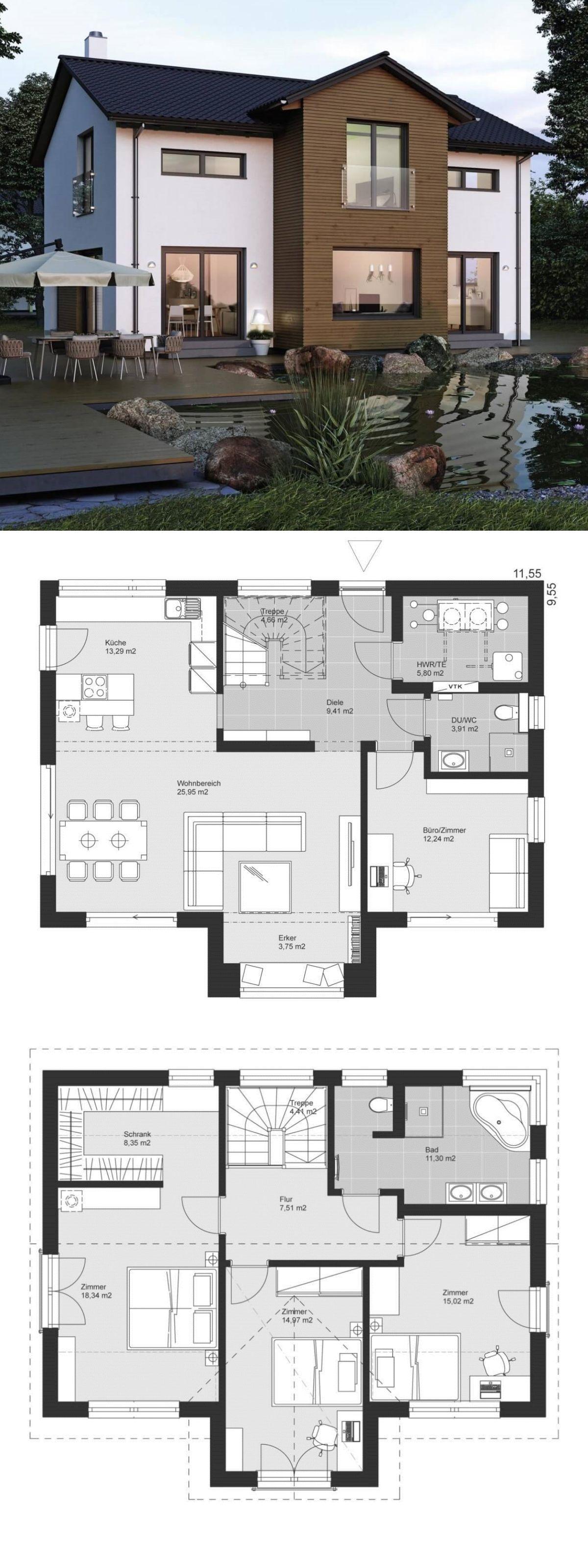 Modernes Einfamilienhaus im Landhausstil Grundriss mit Satteldach Architektur, Zwerchgiebel & Erker Anbau - Fertighaus bauen Ideen ELK Haus 158 - HausbauDirekt.de #casaspequeñas