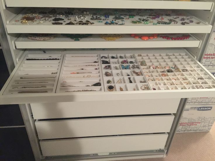 Jewelry storage made from IKEA PAX system I should look into this