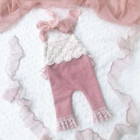 Photo of Pink Newborn Romper Photo Prop, Photo Shoot Girl Romper