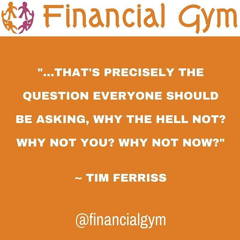 That precisely is the question everyone should be asking. Why the he'll not? Why not you? Why not now? Tim Ferriss.  #inspiration #inspirational #inspirationalquotes #feelingempowered #happinessquotes #selfbelief #hanginthere #loveyourself #successquotes #motivation #positivepeople #mindset #lawofattraction #faith #timefreedom #financialfreedom #success #successful #coaching #training #passiveincome #wealth  #buildyourdream #howtomakemoney #lawofattraction #howtoinvest #growyourmoney…