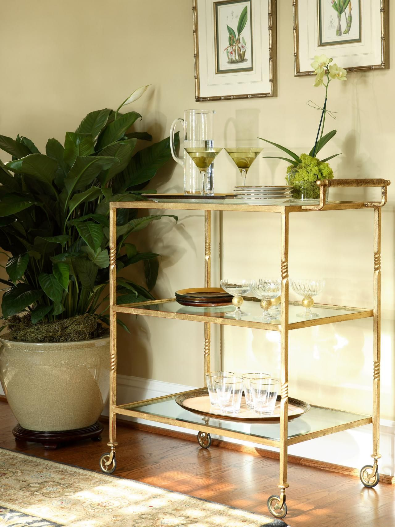 Gold Bar Cart With Glass Shelves | Ilka\'s Teapoy Ideas | Pinterest ...