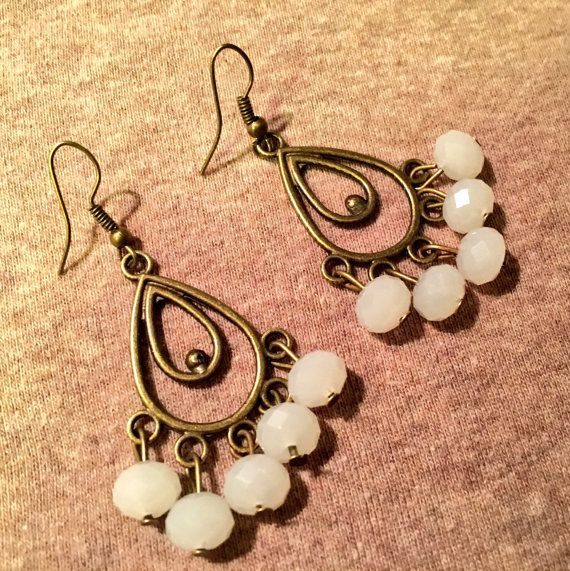 White Chandelier Earrings Bronze Crystal Faceted Rondelles