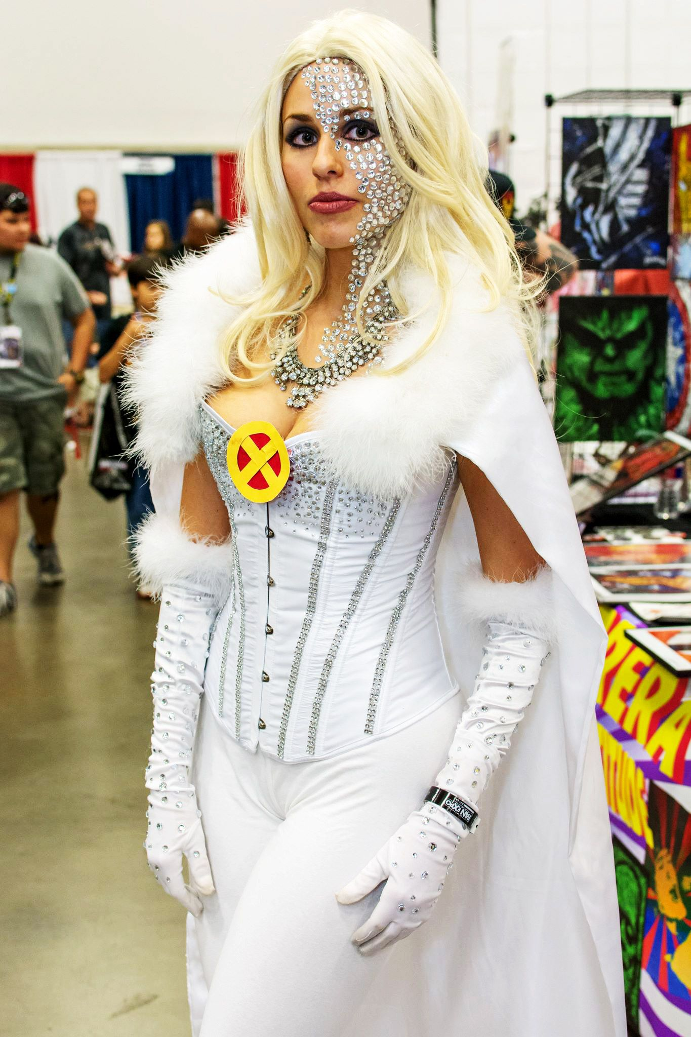 Emma Frost Cosplay 2014 Dallas Comic Con A Little Much On The Face Bling But The Rest Is Nice Emma Frost Cosplay Cosplay Outfits Emma Frost Costume