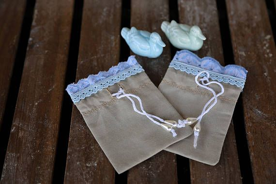 Set of 2 cotton gift bags with blue laces. Small bags. Beige