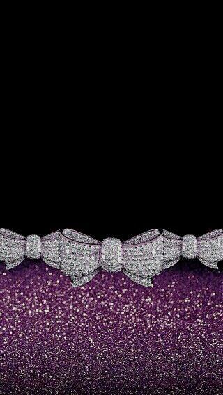 Bows Bling Black Purple Glitter Madebyniki Bling Wallpaper Pretty Wallpaper Iphone