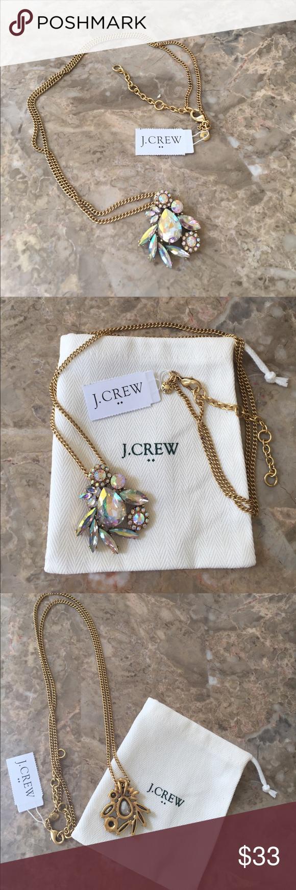 Bnwt jcrew rhinestone long gold chain necklace chains