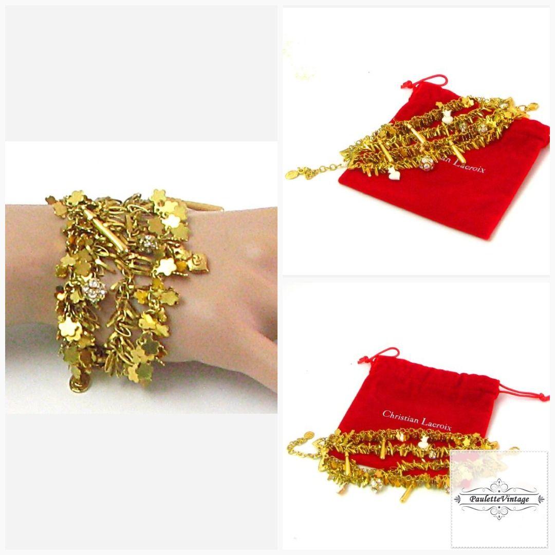 Vintage Christian Lacroix Bracelet With 4 Rows Of Small Gold Etsy Vintage Christian Lacroix Metal Charm Christian Lacroix