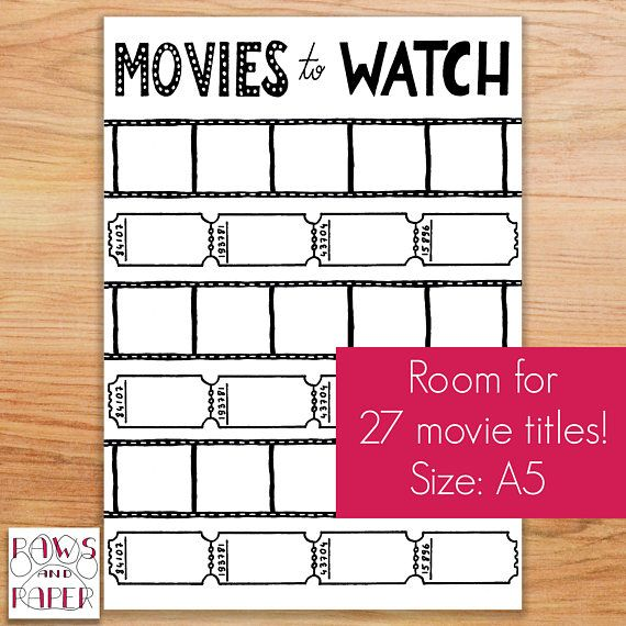 Printable Movies To Watch List Planner Printable Movie Wishlist
