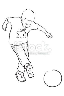 A Line Drawing Of A Young Boy Playing Soccer Jpg And Pdf File Are Line Drawing Boys Playing Soccer Drawing