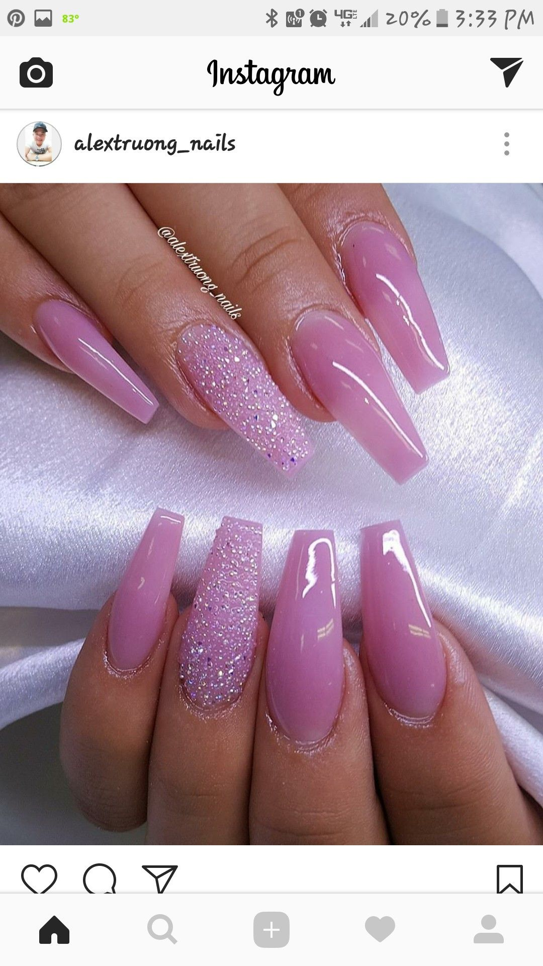 Pretty And Cute Nail Polish Color Nail Art Ideas Coffin Shaped Nails Unas Barbie Pink Nails Pink Glitter Nails Coffin Shape Nails