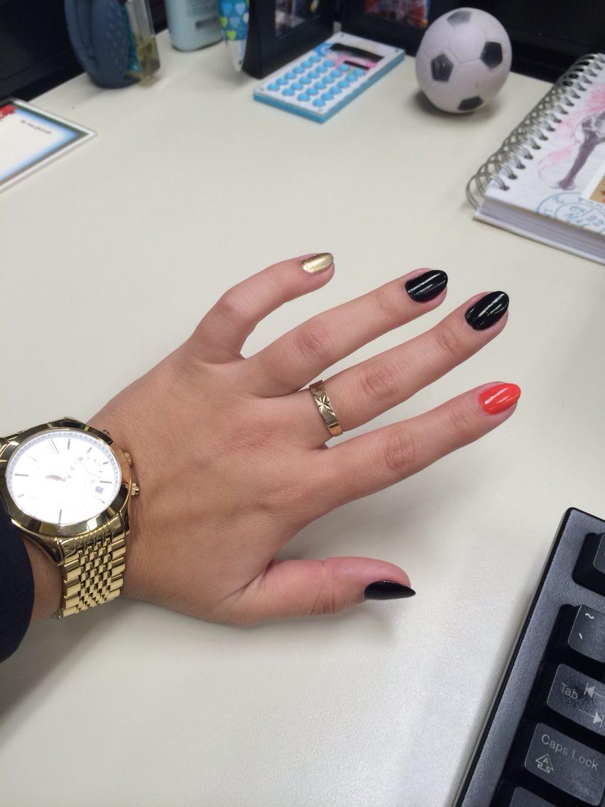 Almond shape nails. Black orange and gold / Halloween ...