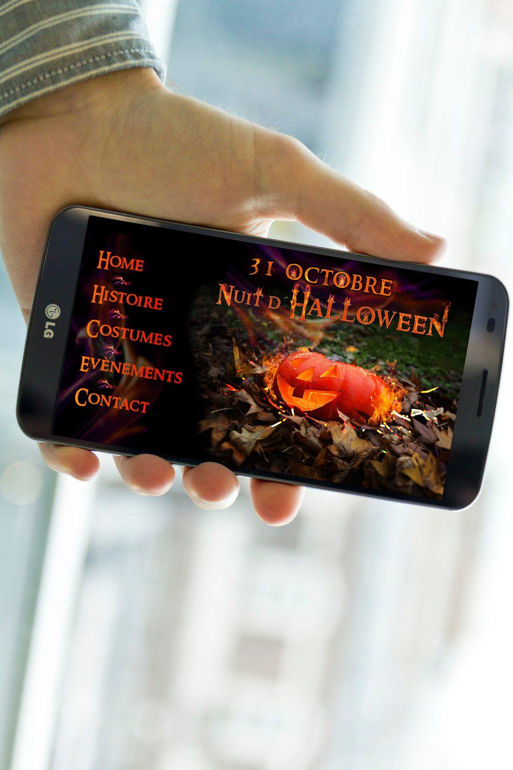Exercice Photoshop: créér un visuel d'Halloween et l'intégrer sur différents devices. Ici sur un smartphone.