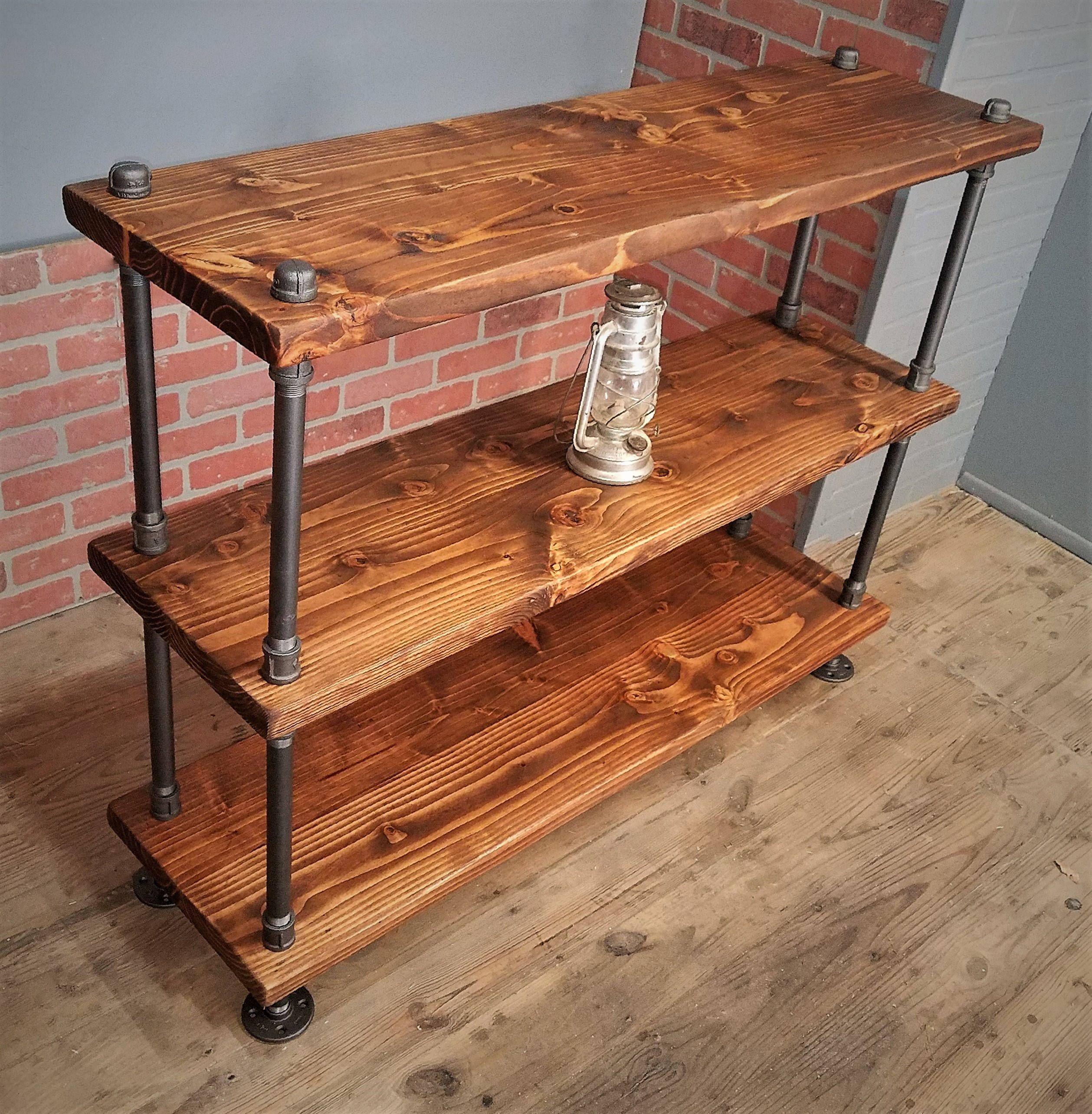 rustic industrial shelf solid wood steel pipes rustic bookshelf