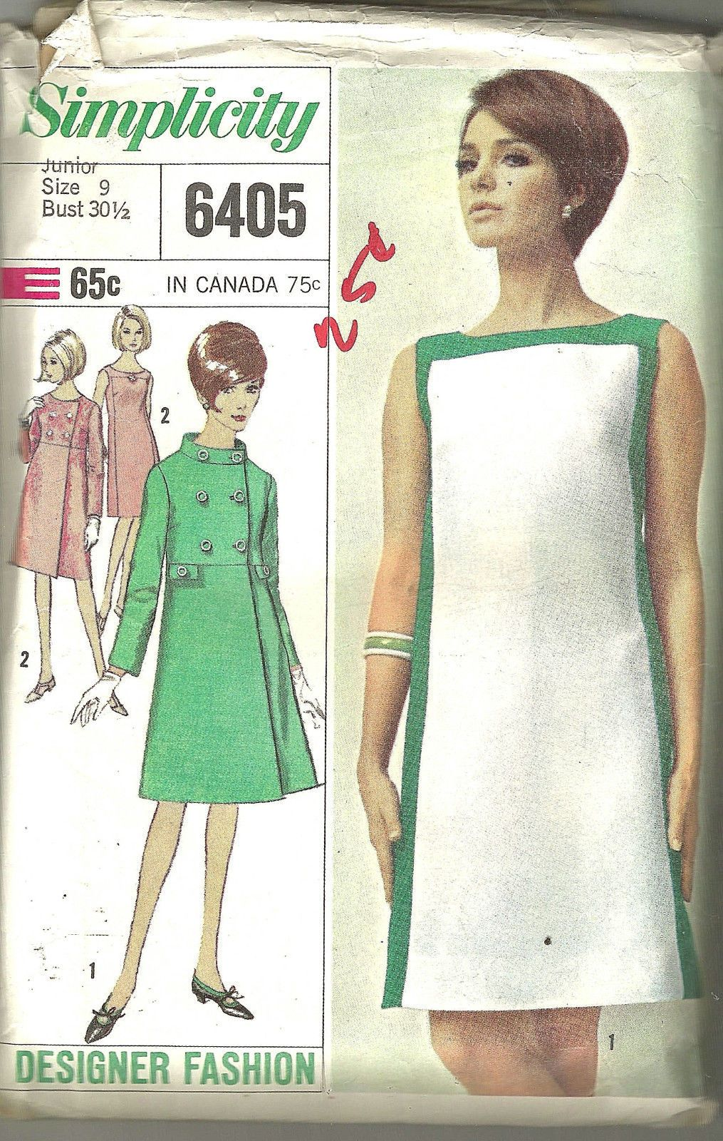Simplicity 6405 Vintage 60\'s Mod dress sewing pattern coat Size 9 ...