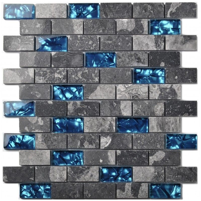 Wall Backsplash Ideas Part - 45: Ocean Blue Glass Nature Stone Tile Kitchen Backsplash Bath Shower Accent  Wall Decor Gray Wave Marble 1 X 2 Subway Art Mosaics PCS X