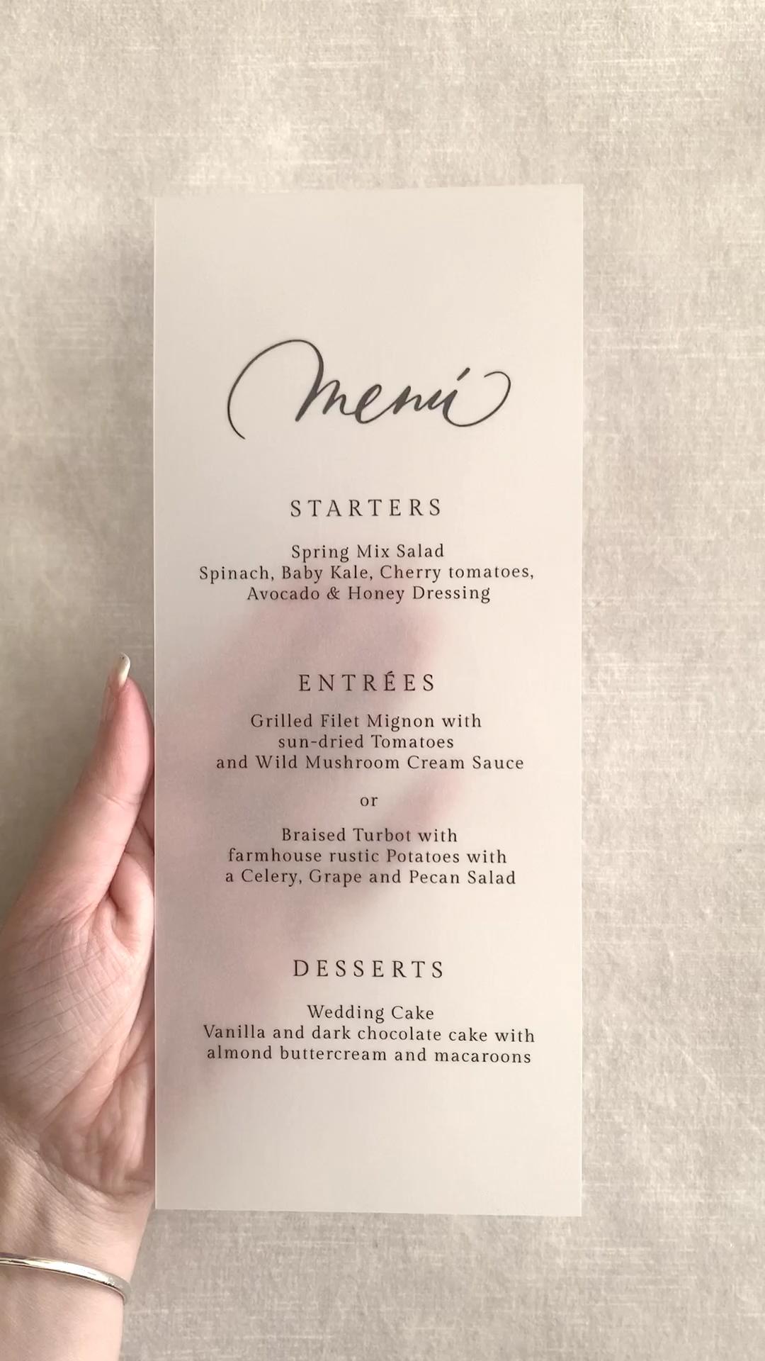 vellum wedding menu cards in 2020 Wedding menu, Menu
