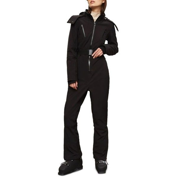 Women's Topshop Sno Volcan Ski Suit (2 725 SEK) ❤ liked on Polyvore featuring black, stretchy belts, elastic belt and stretch belt