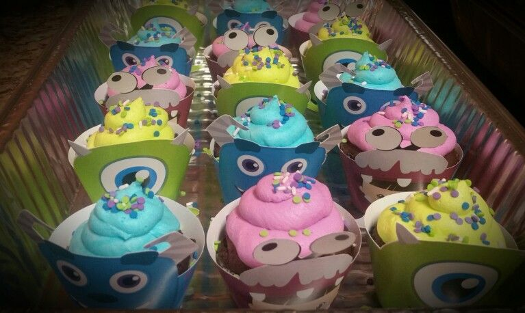 Monster Inc baby shower cup cakes