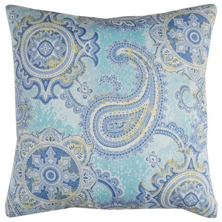 Rizzy Home TFV067 22 inch x 22 inch Indoor/ Outdoor Pillow, Blue