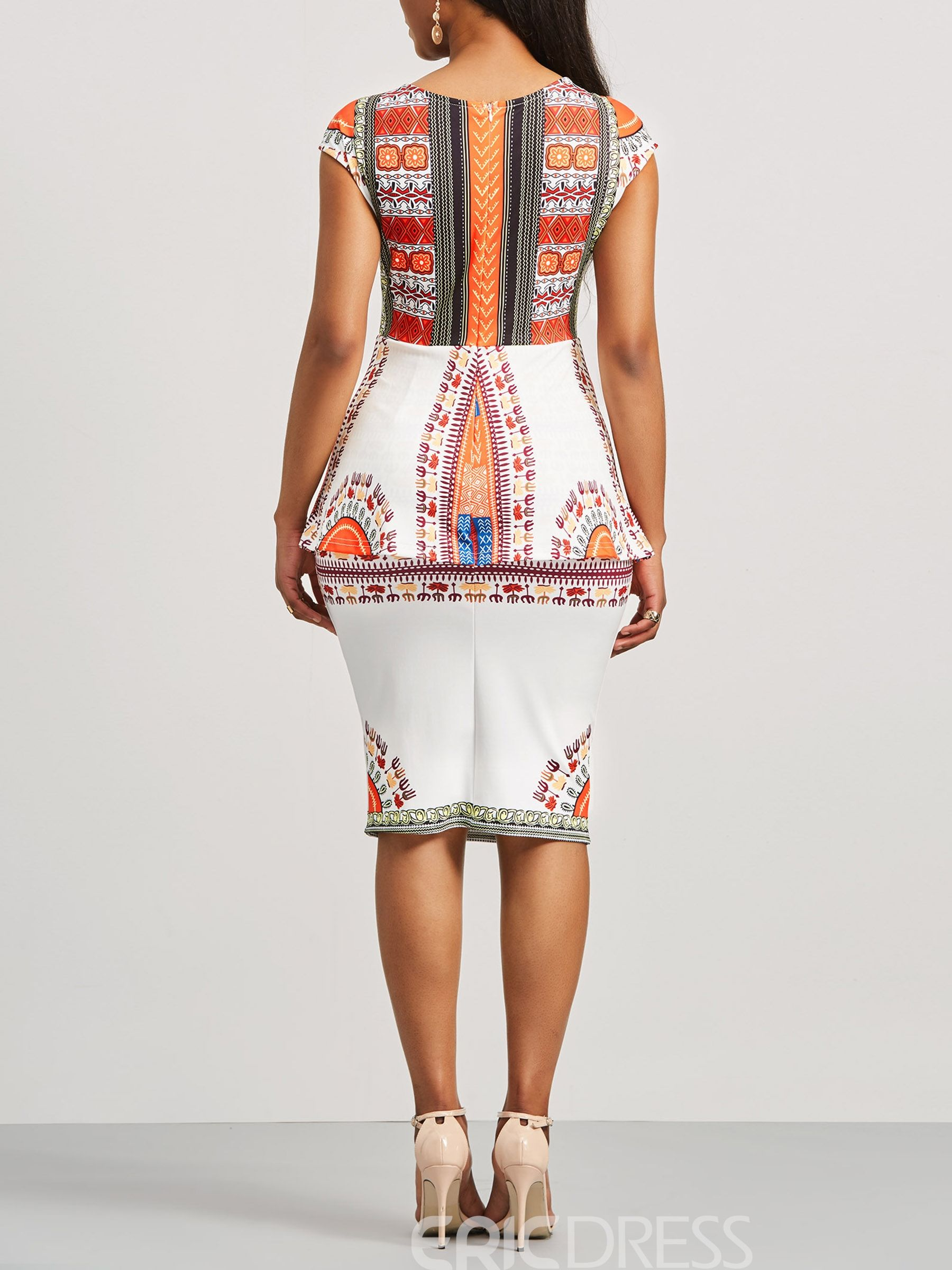 586d914de9 Ericdress Dashiki Ethnic Print Cap Sleeve Women s Bodycon Dress