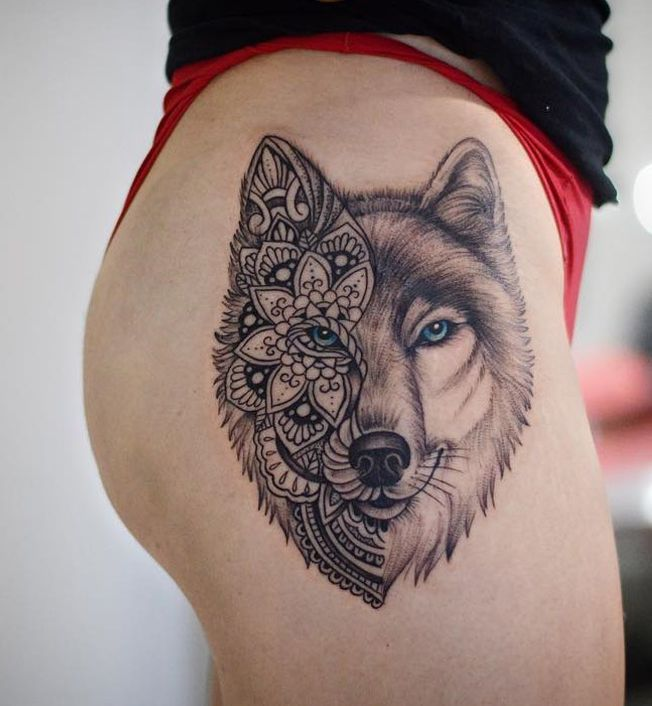 wolf mandala tattoo tattoos pinterest tattoo. Black Bedroom Furniture Sets. Home Design Ideas