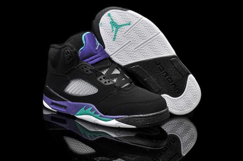en soldes 2f4a3 1e9e3 Nike Air Jordan 5 Enfant Noir New Emerald Grape Ice [P36s ...