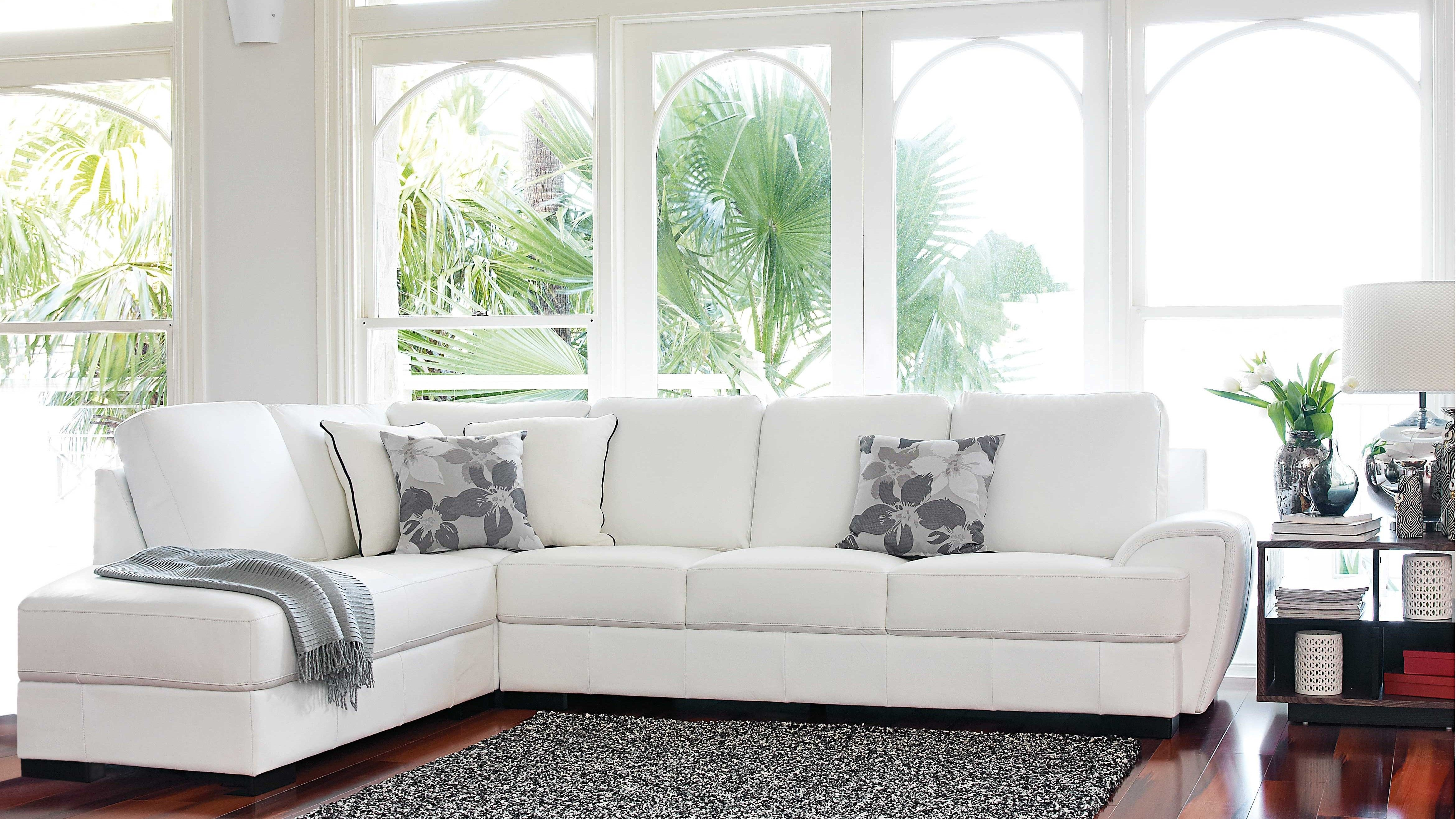 Tristan Modular Leather Lounge white lounge with grey