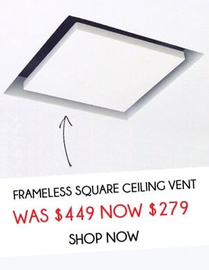 250mm Frameless Vent White With 150mm Duct Adaptor Ceiling