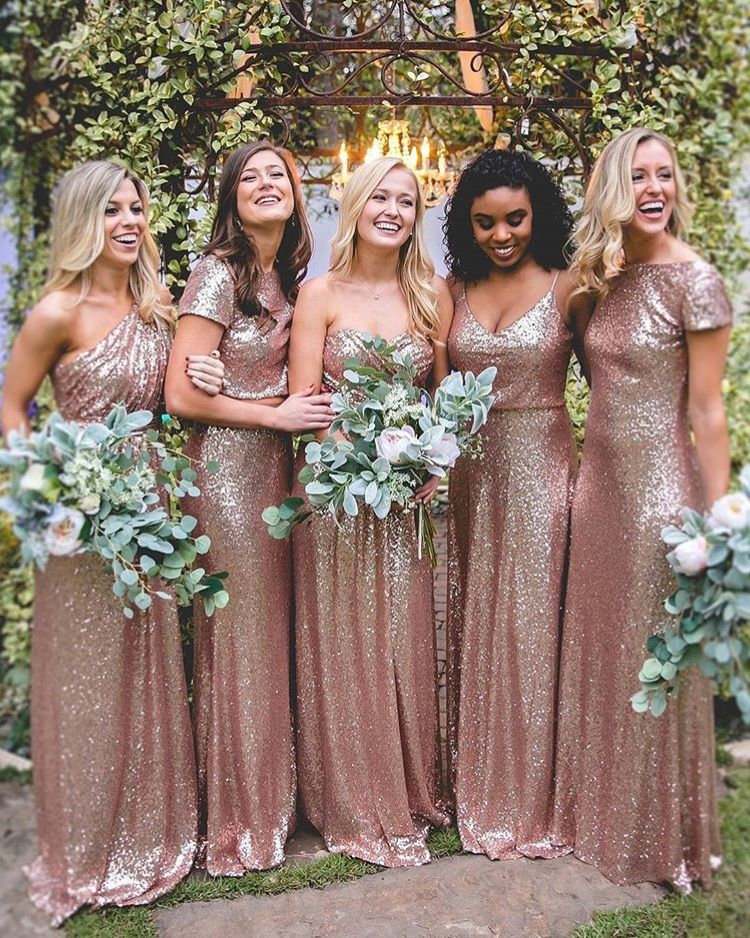 Green bouquets + Rose gold bridesmaid dresses for industrial wedding