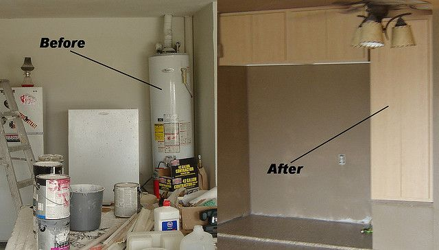 Custom Garage Cabinet Installation Hiding Water Heater Water Heater Is Completely Accessible Through Cabinet Custom Garage Cabinets Installing Cabinets Garage Laundry Rooms