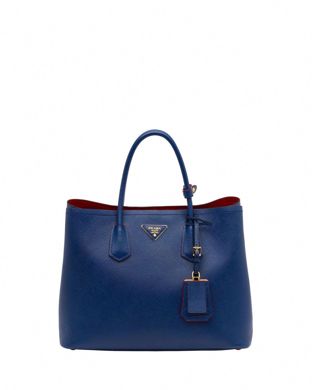ea5a5e7273770a ... best price prada saffiano cuir double bag blue neiman marcus  pradahandbags de612 703d6 ...